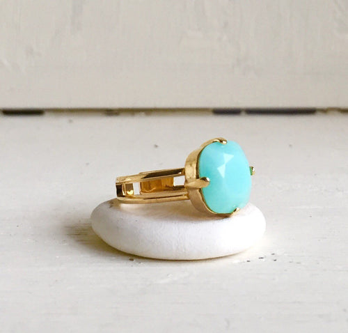 Mint Statement Ring in Gold. Cocktail Ring with Mint Square Swarovski Crystal. Adjustable Statement Ring.