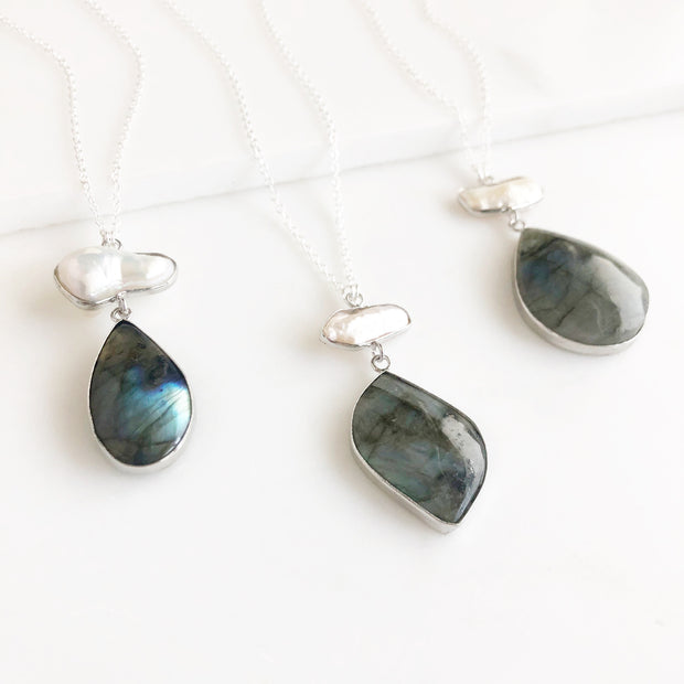 Long Labradorite and Mother of Pearl Pendant Necklace in Sterling Silver