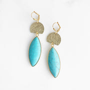 Turquoise Statement Earrings with Gold Half Moon. Gold Turquoise Dangle Earrings
