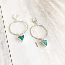 Load image into Gallery viewer, Amazonite Hoop Earrings in Silver. Hoop Earrings. Silver Hoops. Jewelry. Druzy Jewelry.