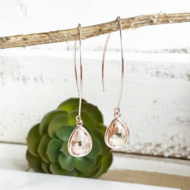 Rose Gold and Champagne Drop Earrings. Simple Dangle Earrings Bridesmaid Gift Wedding Jewelry
