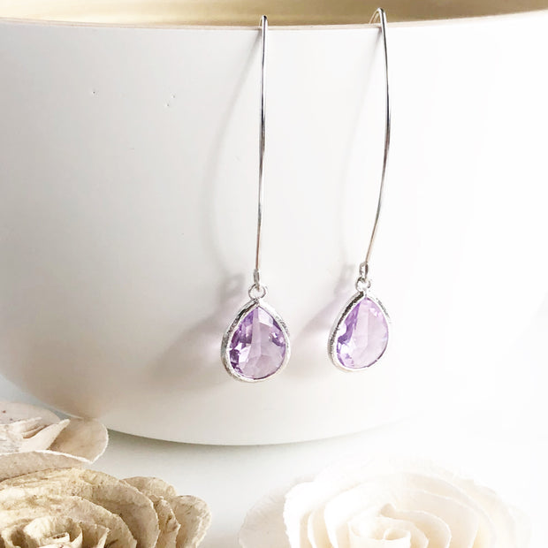 Silver Drop Earrings. Lavender Earrings. Bridesmaid Gift. Drop Earrings. Wedding Jewelry. Dangle.