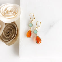 Load image into Gallery viewer, Orange and Aqua Glass Dangle Earrings. Bridal Earrings. Bridesmaids Gift.