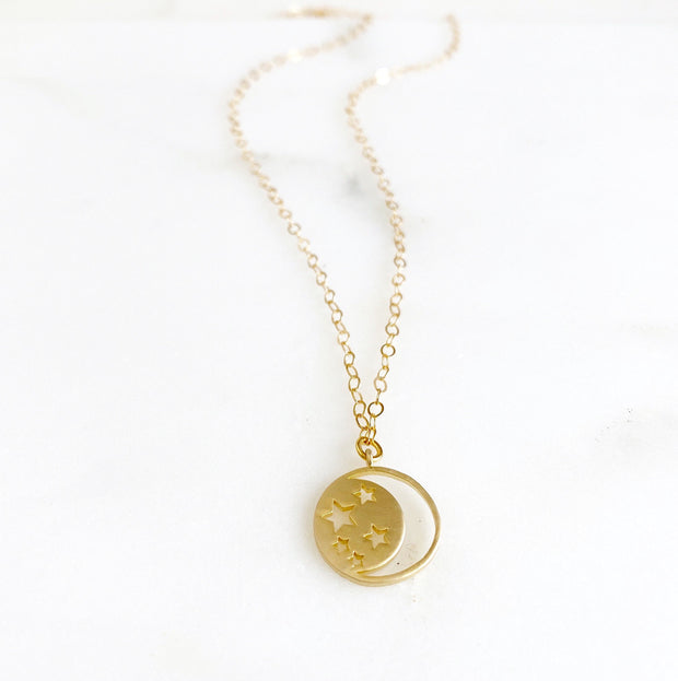 Simple Moon and Stars Necklace in Gold. Simple Gold Crescent Necklace