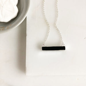 Black Stone Bar Necklaces in Sterling Silver