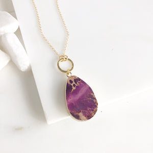 Long Gold Necklace with Purple Stone. Long Necklace. Purple Stone Necklace.