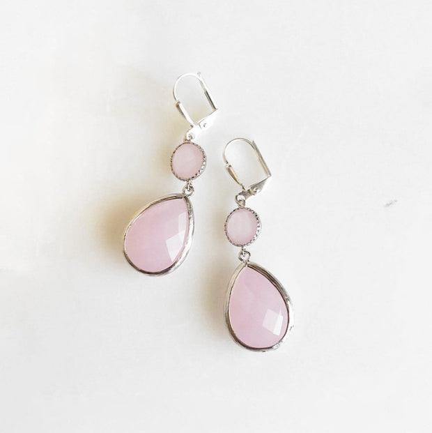Soft Pink Glass Drop Earrings in Silver. Pink Dangle Earrings