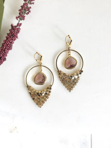 Fancy Chandelier Earrings in Gold and Plum. Holiday Jewelry. Christmas Gift.