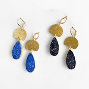 Blue and Black Druzy Teardrop and Brushed Gold Statement Earrings. Gold Dangle Earrings