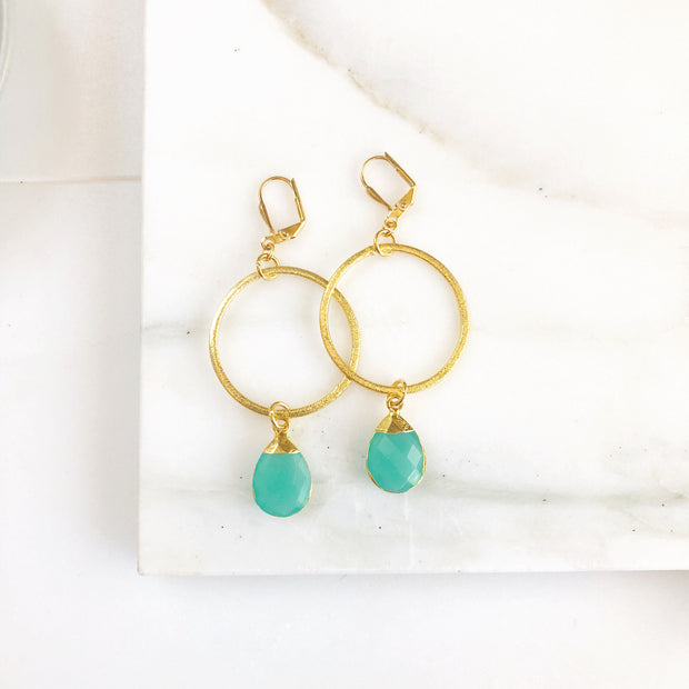 Statement Earrings with Aqua Chalcedony Teardrops and Hoops. Long Stone Earrings. Gold Statement Earrings. Jewelry Gift.