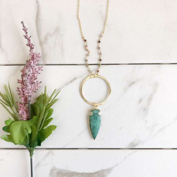 Long Amazonite Arrowhead and Ring Necklace in Gold. Long Boho Necklace. Gold Arrow Necklace.