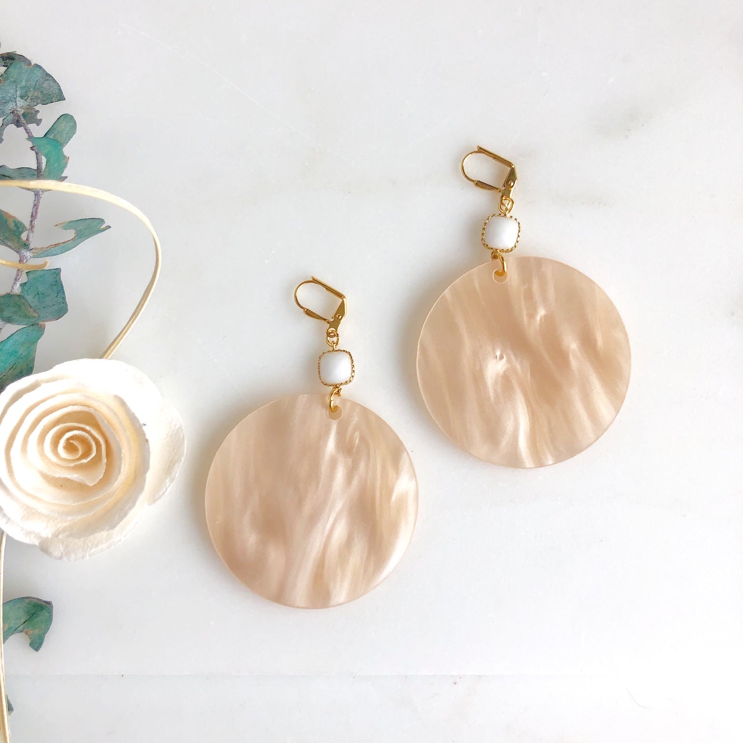 Large Pearlescent Cream Statement Disk Earrings with White