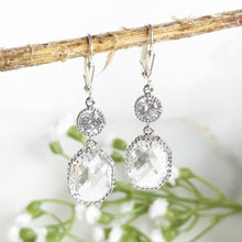 Load image into Gallery viewer, Silver Bridal Earrings with Clear Stones. Drop Bridesmaids Earrings. Dangle Earrings. Bridal Jewelry. Modern Earrings. Wedding. Gift.