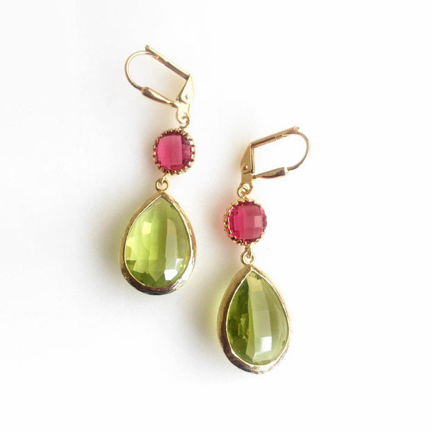 Earrings Olive Green and Ruby Red Dangle Earrings. Drop. Fashion Jewelry. Christmas Gift. Fall Jewelry. Autum Earrings. Drop Earrings. Gift.