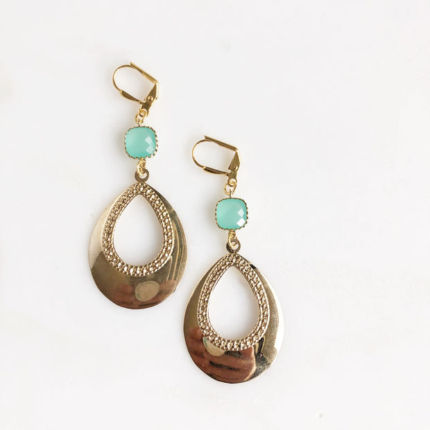 Gold Teardrop Earrings. Gold Statement Earrings. Aqua and Aquamarine Dangle Drop Earrings.