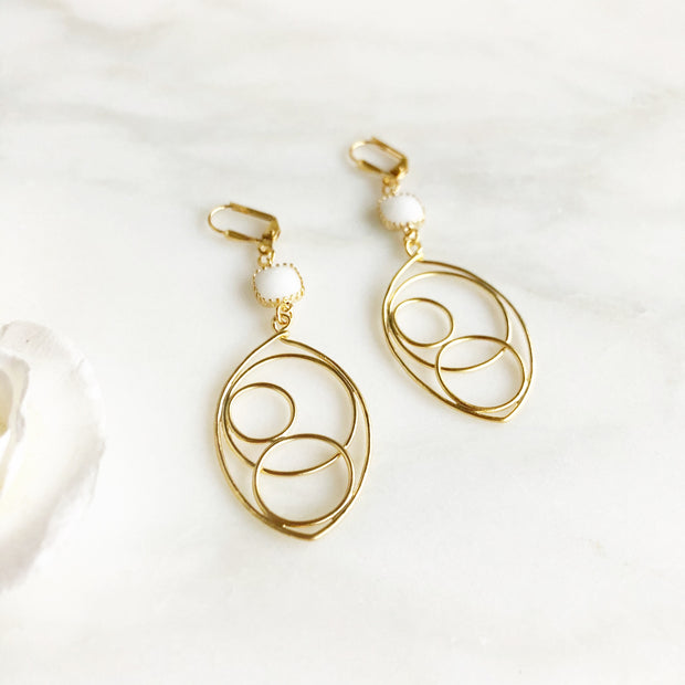 Gold Teardrop Statement Earrings with White Stones