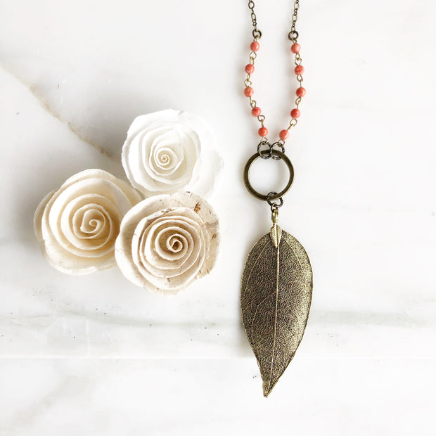 Long Leaf Necklace in Antique Bronze with Coral Beads