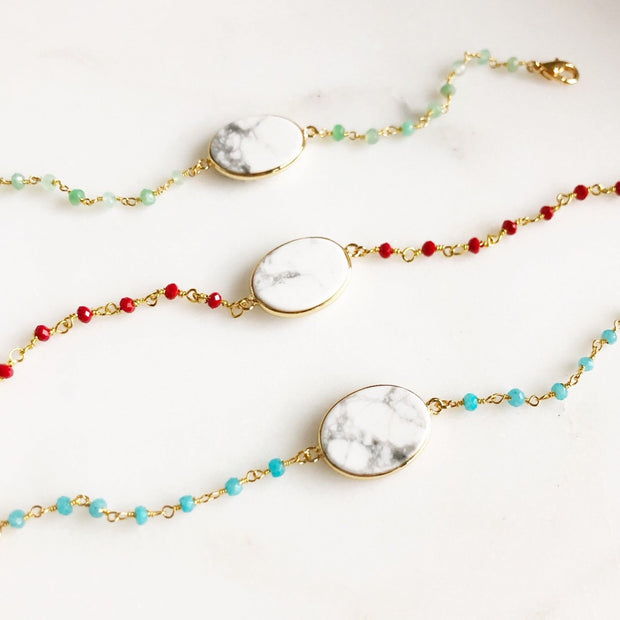 White and Grey Howlite and Colorful Beaded Bracelets. Red, Green, and Blue.