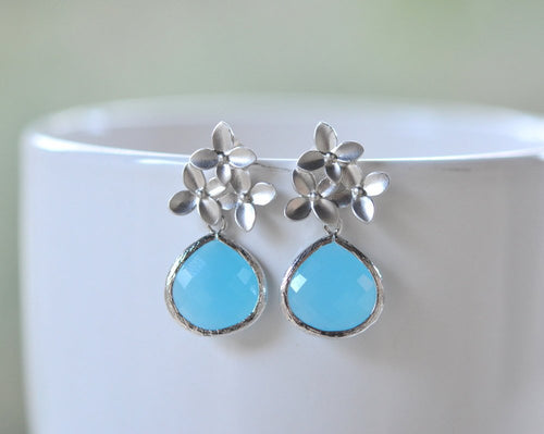 Sky Blue Drop and Silver Cherry Blossom Flower Post Earrings. Blue Bridesmaid Earrings.