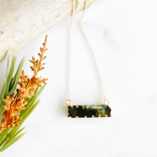 Labradorite Scalloped Bar Necklace in Gold. Simple Dainty Gemstone Bar Necklace