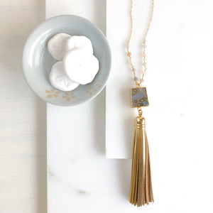 Black and Gold Tassel Necklace. Moonstone Tassel Necklace. Long Necklace. Bohemian Jewelry. Gift.
