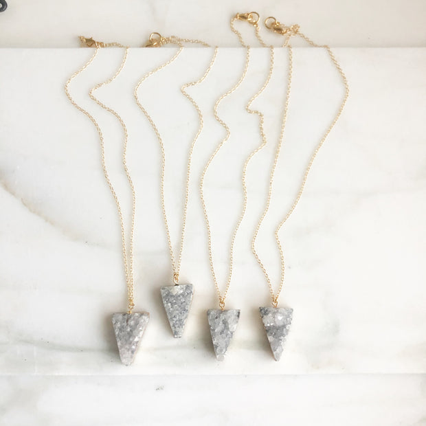 Grey Triangle Druzy Necklace in Gold. Neutral Geode Necklace. Gold Necklace. Druzy Jewelry. Gift.