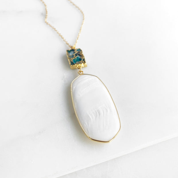 Long White Stone Necklace in Gold. White Pendant Mojave Stone Long Gold Necklace