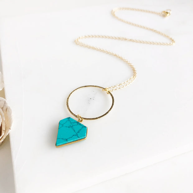 Long Turquoise Shield and Gold Circle Pendant Necklace. Long Pendant Necklace. Long Gold Neckla