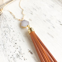 Load image into Gallery viewer, Tassel Necklace. Orange Tassel Necklace. Leather Tassel. Druzy Tassel Necklace. Beaded Tassel Necklace. Boho Jewelry. Fall Necklace. Gift.