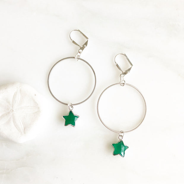 Hoop Earrings with Star Drops. Green Onyx Star and Silver Hoop Earrings. Dangle Earrings.