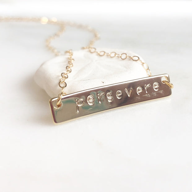 Persevere Bar Necklace. Hand Stamped Persevere Necklace. Personalized Necklace