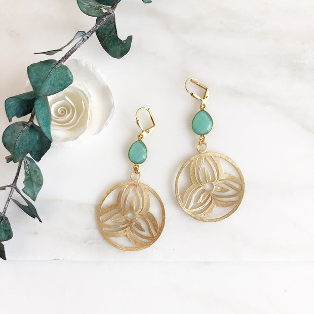 Aqua Chalcedony Gold Floral Pendant Earrings. Gold Statement Earrings. Flower Earrings.