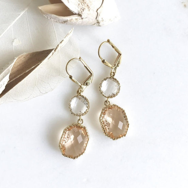 Champagne Dangle Earrings. Wedding Bridal Bridesmaid Jewelry