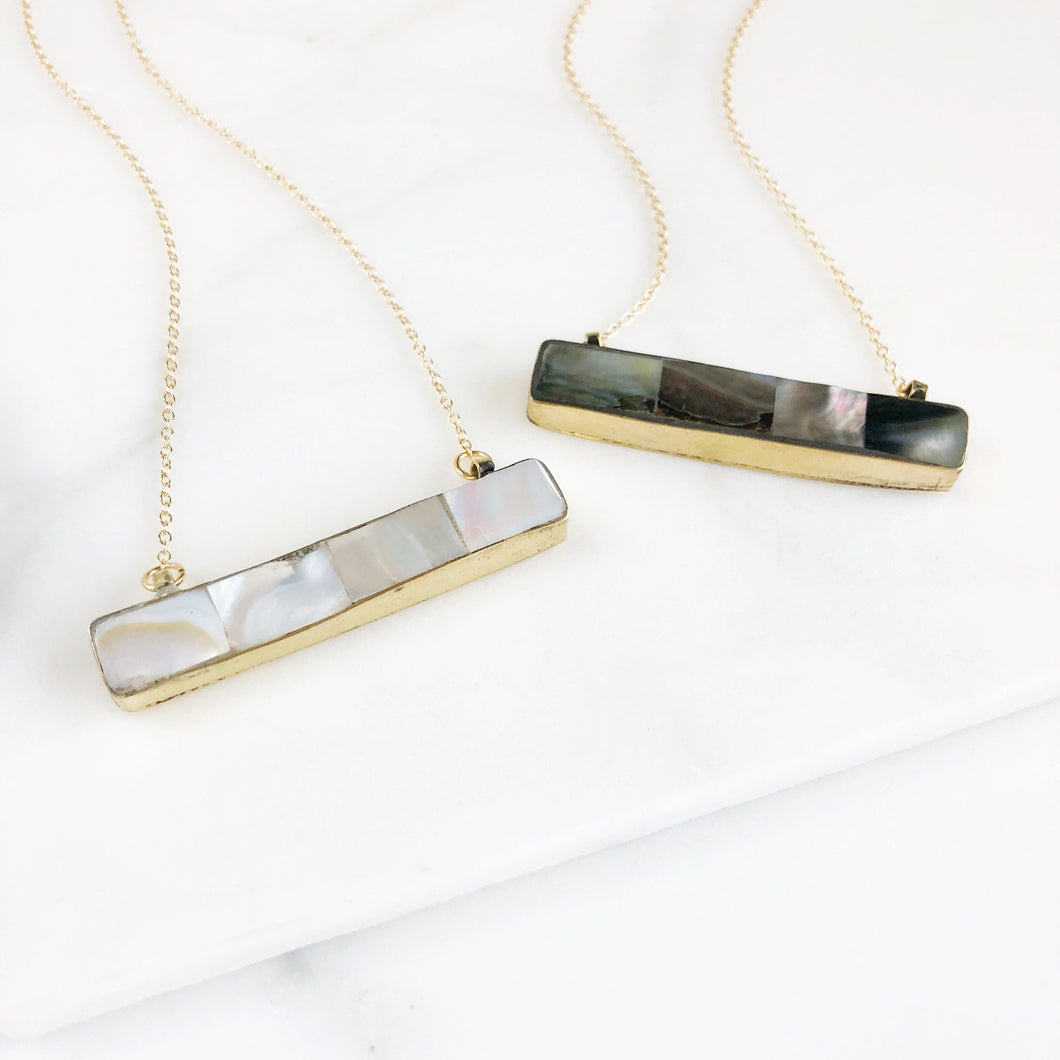 Abalone Bar Necklace in Gold. Shell Pendant Necklace. Layering Necklace. Bar Necklace. Jewelry Gift. Shell Necklace.