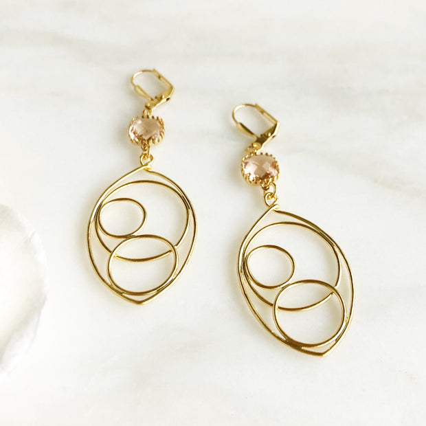 Gold Teardrop Statement Earrings with Champagne Stones