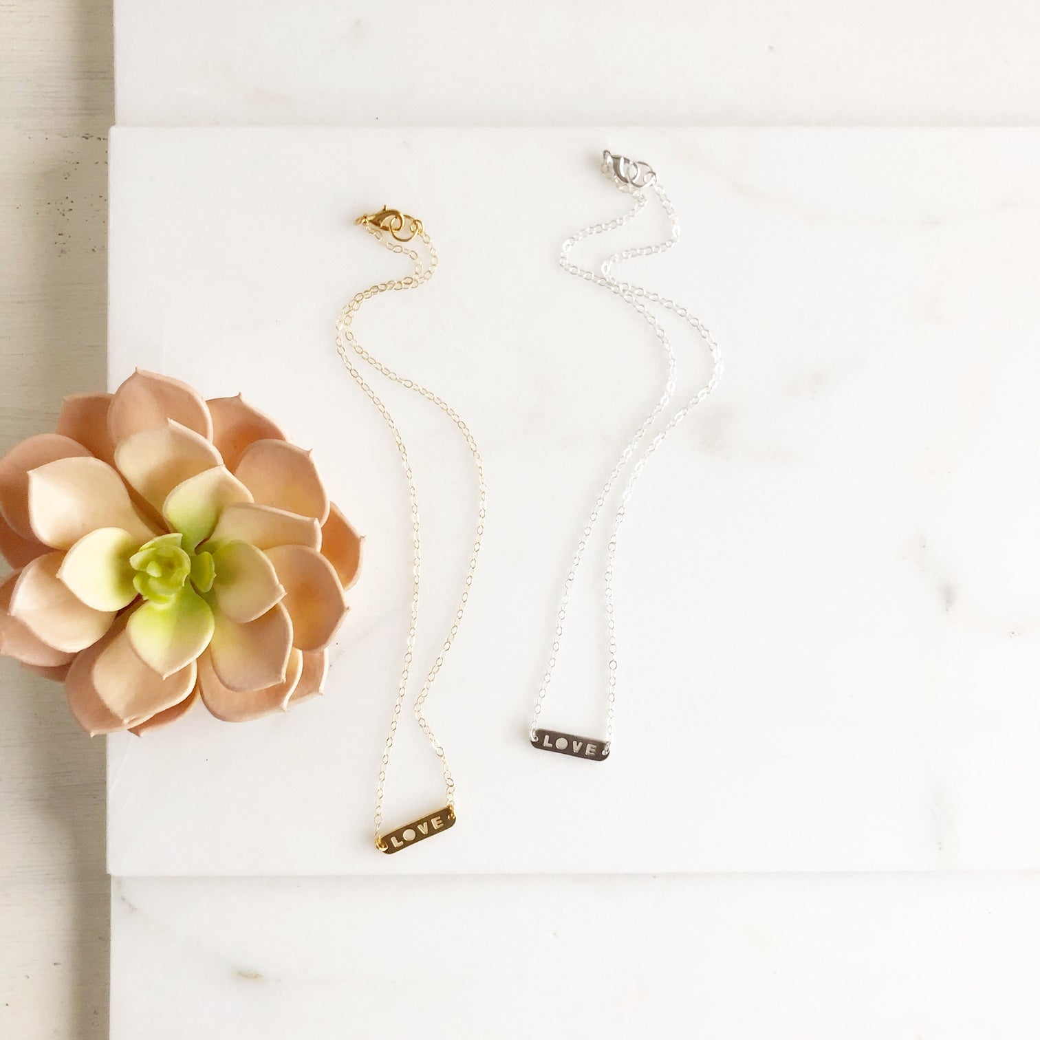 Dainty LOVE Necklace. Silver and Gold. Layering Necklace.