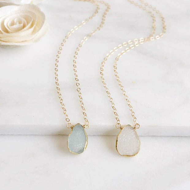 Druzy Necklace Gold Edged Stone. 14k Gold Filled Chain. Gemstone Druzy Teardrop Necklace