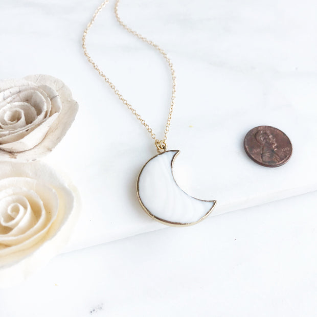 White Moon Necklace in Gold. Vertical Moon Crescent Necklace