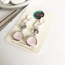 Load image into Gallery viewer, Soft Pink Teardrop and Charcoal Grey Jewel Drop Earrings in Silver. Bridesmaid Dangle Earrings.