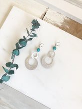 Load image into Gallery viewer, Silver Statement Earrings. Turquoise Stone and Silver Hoop Earrings. Fun Earrings. Big Earrings.
