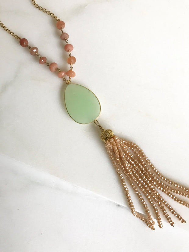 Tassel Necklace Mint, Peach and Gold. Mint Chalcedony and Peach Bead Tassel. Long Gold Tassel Necklace. Gold Tassel Necklace. Boho Style.