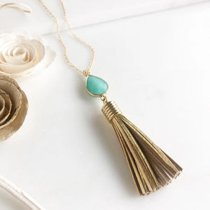 Aqua Jade Teardrop and Small Gold Tassel Necklace in Gold.