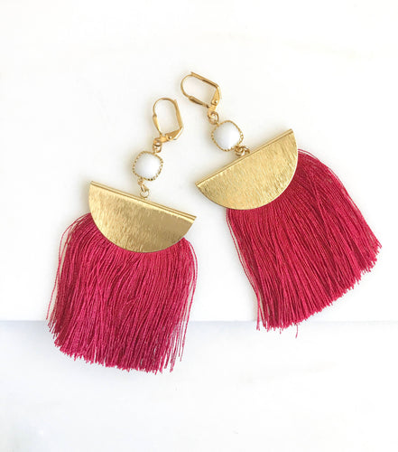 Red Tassel Earrings. Chandelier Earrings. Tassel Dangle Earrings. Statement Earrings. Jewelry. Gold Tassel Earrings. Christmas Gift.