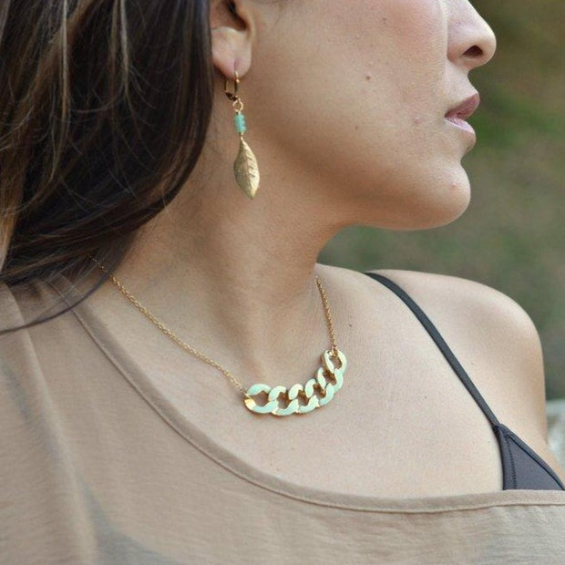 SALE - Modern Mint Chain Statement Necklace in Gold. Statement Necklace. Modern Jewelry. Mint Statement Jewelry