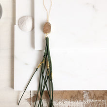Load image into Gallery viewer, Boho Tassel Necklace with Champagne Druzy and Long Green Tassel. Long Necklace. Bohemian Necklace.