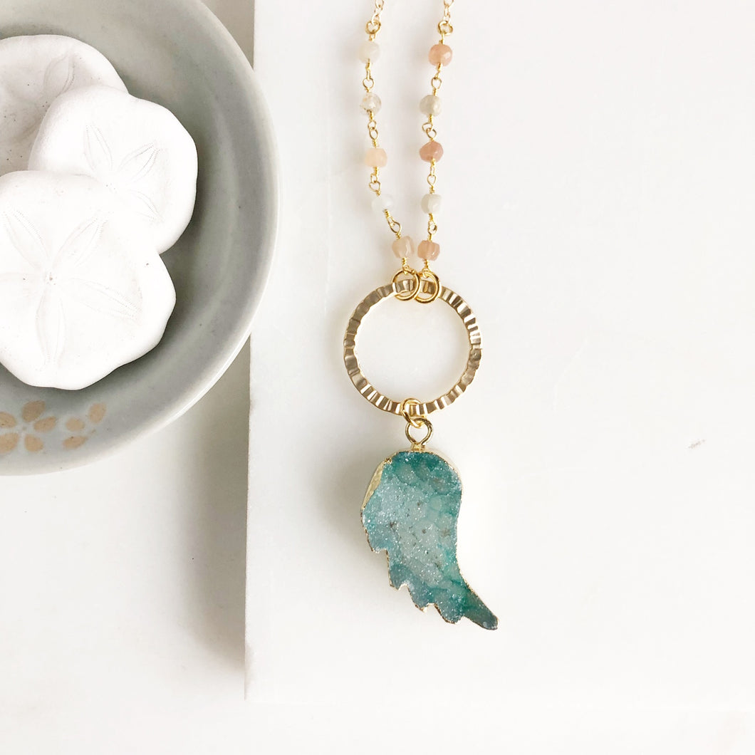 Teal Green Druzy Wing Necklace in Gold. Long Wing Necklace. Long Druzy Necklace. Pendant Necklace. Gift.