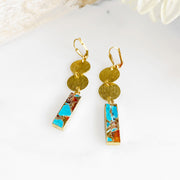 Mojave Rectangle and Gold Circle Dangle Earrings. Unique Gold Geometric Earrings