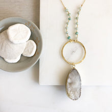 Load image into Gallery viewer, Long Necklace. White Druzy. White Druzy Stone Necklace with Amazonite. Boho Necklace.