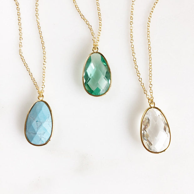 Long Gold Stone Statement Necklace in Turquoise, Aquamarine, Clear. Boho Necklace. Long Jewel Necklace. Stone Necklace. Gift.