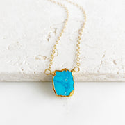 Dainty Turquoise Gemstone Slice Necklace in Gold. Simple Delicate Gemstone Layering Necklace